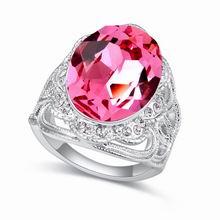 奥地利水晶戒指--倚门回首(玫红)