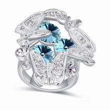 奥地利水晶戒指--蝶满枝(海蓝)