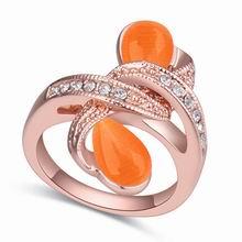 奥地利水晶戒指--黯乡魂(玫瑰金+橘色)