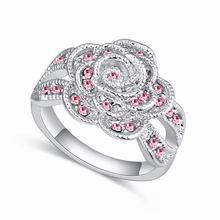 奥地利水晶戒指--芳草无情(浅玫红)