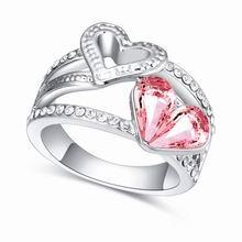 奥地利水晶戒指--心相印(浅玫红)