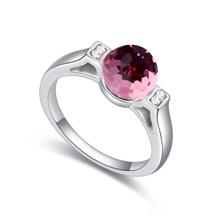 奥地利水晶戒指--廊腰缦绘(浅玫红)