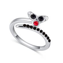 奥地利水晶戒指--银狐(黑色)