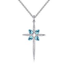 奥地利水晶毛衣链--迷人十字架(海蓝)