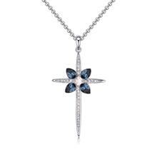 奥地利水晶毛衣链--迷人十字架(墨蓝)