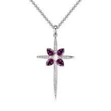 奥地利水晶毛衣链--迷人十字架(紫色)