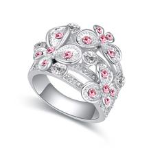 奥地利水晶戒指--幸福花朵(浅玫红)