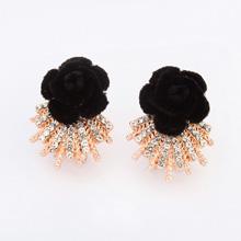 欧美时尚玫瑰花朵耳环(黑色)