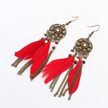 欧美时尚复古流苏耳环(大红+古金)