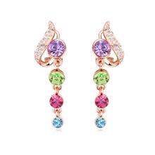 奥地利水晶耳环--多情画意(玫瑰金+彩色)