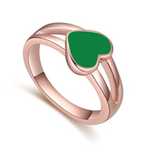 镀真金戒指--爱心世界(绿色)