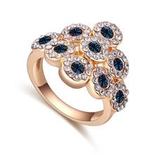 奥地利水晶戒指--爱似水仙(香槟金+墨蓝)