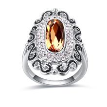 奥地利水晶戒指--暮雨潇潇(烟黄水晶)