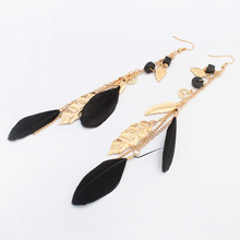 欧美时尚树叶流苏耳环(黑色)