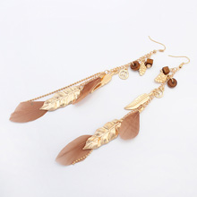 欧美时尚树叶流苏耳环(古铜色)