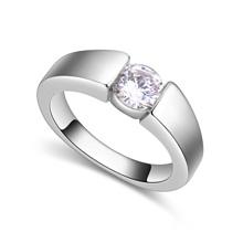 AAA级微镶锆石戒指--城里的月光(白金)