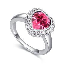 奥地利水晶戒指--爱心光粉(玫红)
