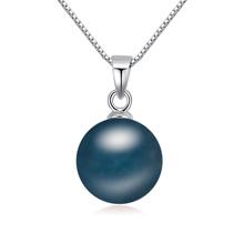 S925纯银奥地利珍珠项链--天空色彩(深蓝)