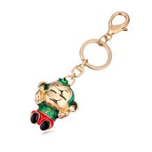 钥匙扣--摸耳猴(香槟金+绿色+红色)