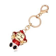 钥匙扣--摸耳猴(香槟金+红色+白色)