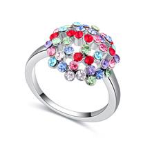 进口水晶戒指--花蕊娇艳(彩色)