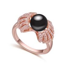 AAA级微镶锆石戒指--缘来是你(玫瑰金+黑色)