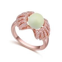 AAA级微镶锆石戒指--缘来是你(玫瑰金+粉彩绿)