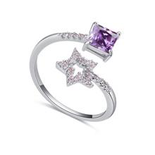 AAA级微镶锆石戒指--星星方块(紫色)