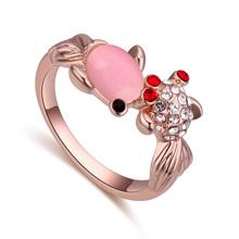 进口水晶戒指--可爱金鱼(玫瑰金+浅粉)