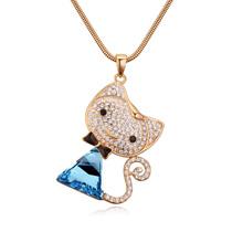 奥地利水晶毛衣链--萌萌猫(香槟金+海蓝)