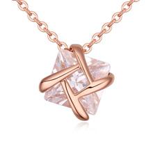 AAA级微镶锆石项链--爱意交叉(玫瑰金)