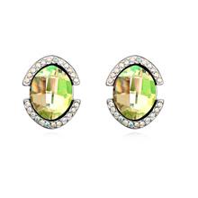 奥地利水晶耳钉--巴塞罗那(夜光绿)