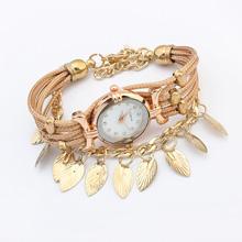 欧美时尚叶子手表(金色)