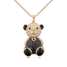 镀真金毛衣链--娃娃熊(香槟金+黑色)