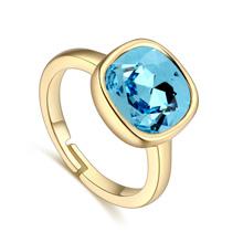 奥地利水晶戒指--心印(18K金+海蓝)