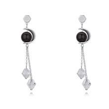奥地利水晶耳环--两情相悦(黑+白)