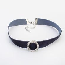 欧美时尚个性镶钻圈圈颈链(深灰)