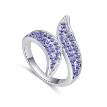 进口水晶戒指--两叶掩目(藕荷紫)