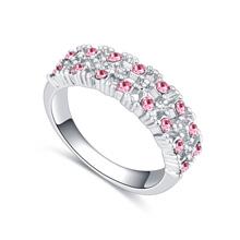 进口水晶戒指--点点滴滴(玫红)