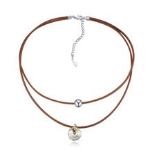 奥地利水晶颈链--圆情(棕色)