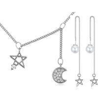 AAA级微镶锆石银针套装--月落星沉(白金)