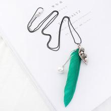 韩版复古银叶子羽毛珍珠项链(绿色)