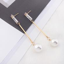 韩版简约气质长款珍珠长方形耳钉(金色)