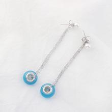 韩版个性简约长款猫眼石珍珠耳钉(蓝色)