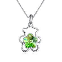 奥地利水晶项链--抱抱熊(橄榄)