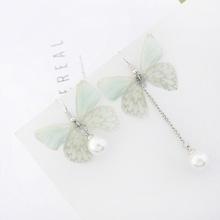 韩版时尚甜美薄纱蝴蝶不对称流苏珍珠耳环(淡绿)