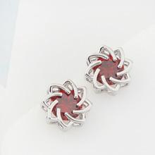 韩版时尚气质镂空水莲花锆石耳钉(红色)