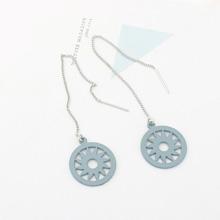 欧美个性简约镂空圆环太阳耳环(淡蓝)