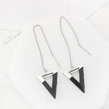 欧美个性简约刻字三角耳环(黑色)