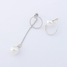 韩版气质简约不对称镂空圆环珍珠耳钉(银色)